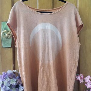 We the Free Peach Ombre Moon Oversized Top